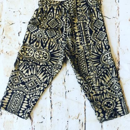 3/4 Length Leggings (2-3 years) in Black jersey lycra fabric with Aztec Gold design