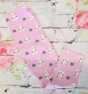 Full Length Leggings (4-5 years) in Pink jersey fabric with rabbit design