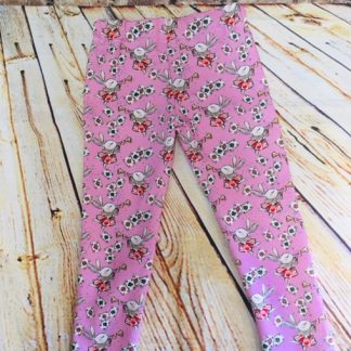 Full Length Leggings (5-6 years) in Pink jersey fabric with playing cards and rabbit from Alice in Wonderland design
