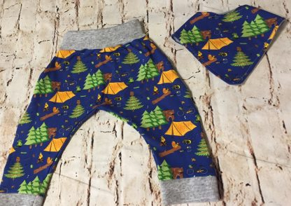 Harems & Bib Set in Blue Jersey Fabric with camping design