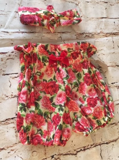 High Waisted Bloomers & Hairband Set (12-18 months) in Cream/lemon cotton fabric with red roses design, with red 5cm bow & matching headband