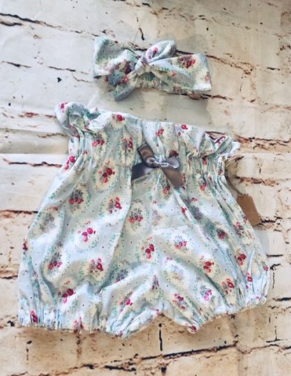 High Waisted Bloomers & Hairband Set (12-18 months) in Grey cotton fabric with flowery design, with grey 5cm bow & matching headband