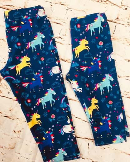 Elasticated 3/4 Length Leggings 7-8 years in Blue Jersey fabric with unicorn design