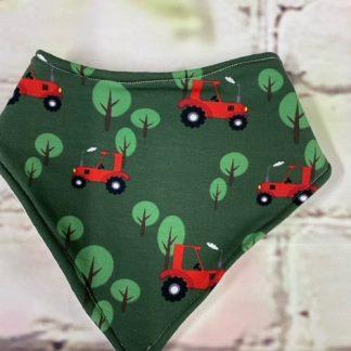 Bib Red Tractor on Dark Green Jersey Fabric
