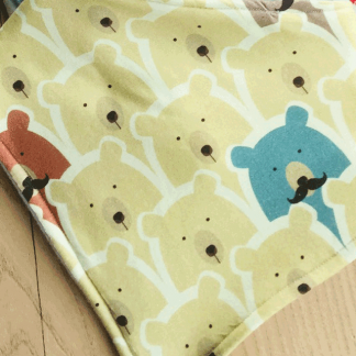 Brown, Yellow and Blue Bears on Yellow Jersey Fabric