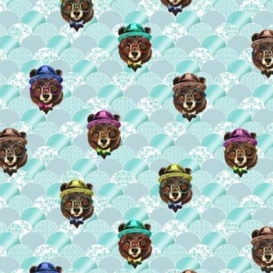 Colourful Cool Bear (with Glasses) Design on Green Patterned Jersey Fabric