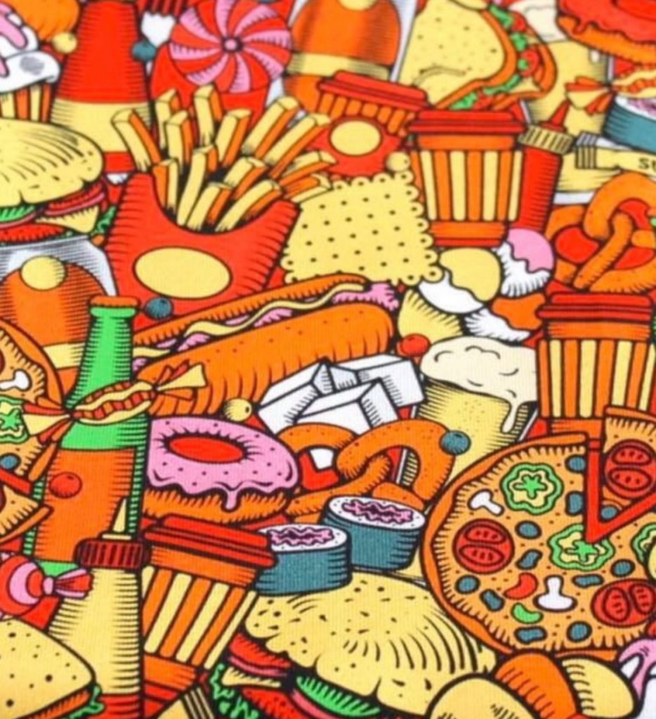 Colourful Fast Food Design on Jersey Fabric