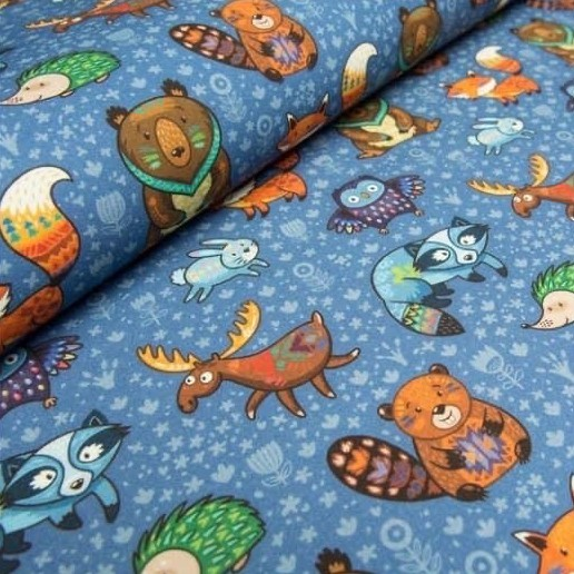 Colourful Forest Animals on Blue Jersey Fabric