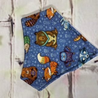 Dribble Bib (Forest Animals on Blue Flowery Jersey)