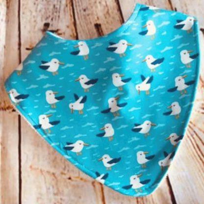 Dribble Bib (Seagulls on Blue Jersey Fabric)