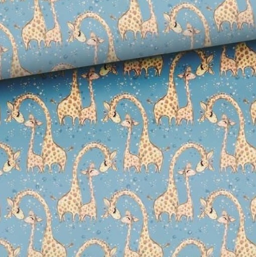 Giraffes on Grey Jersey Fabric