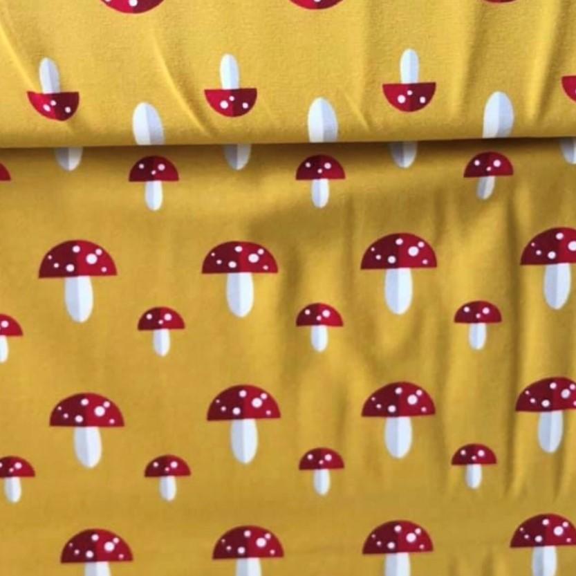 Mushroom Print Design on Orange Jersey Fabric
