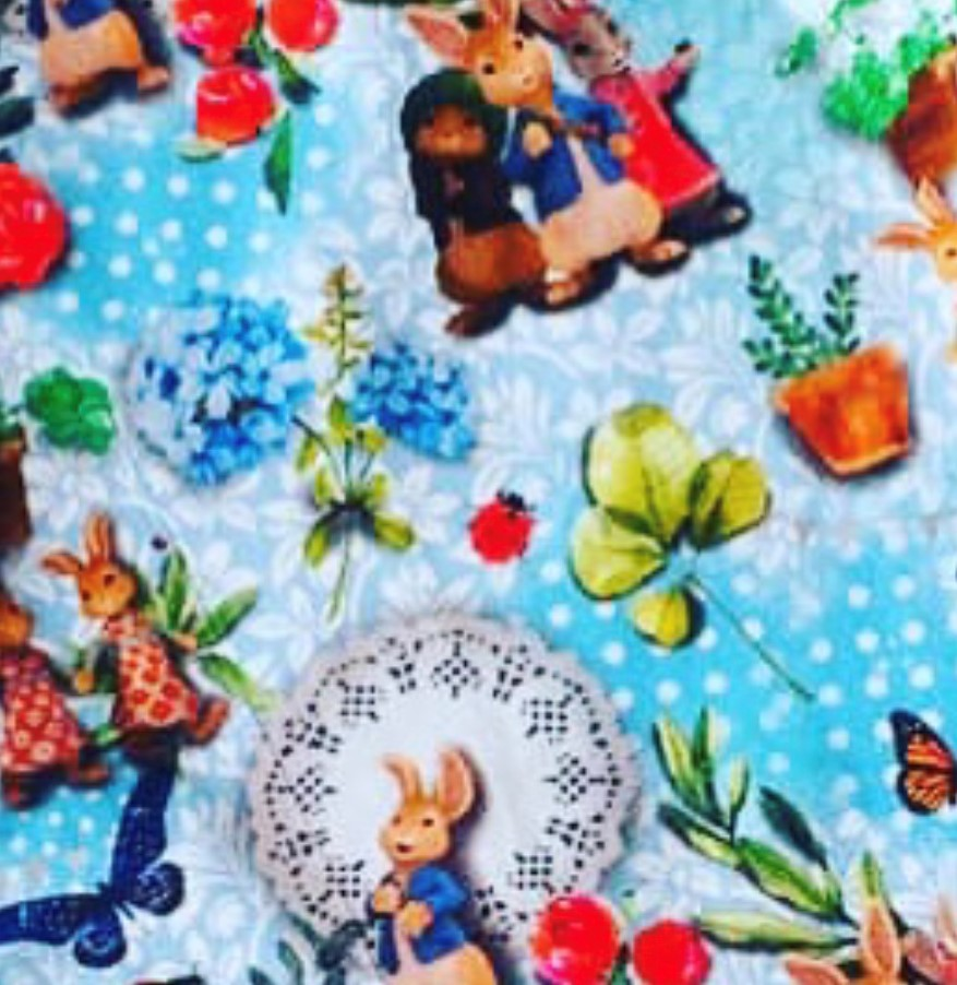 Peter Rabbit Design with Flowers and White Polka Dot on Light Blue Jersey Fabric