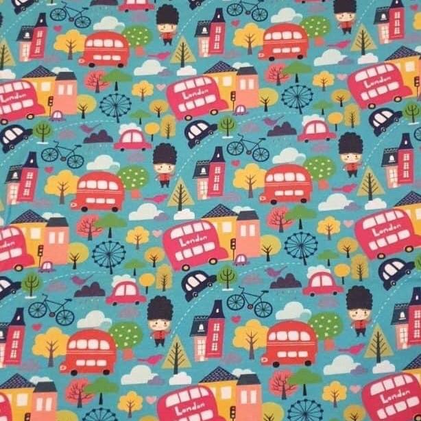 London Design on Green Jersey Fabric