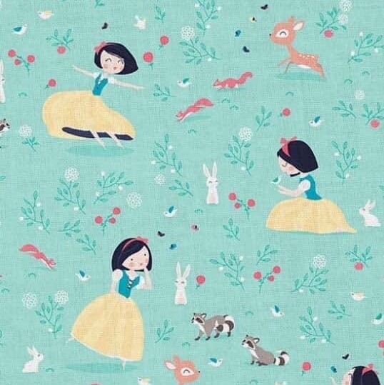 Snow White Design on Green Jersey Fabric