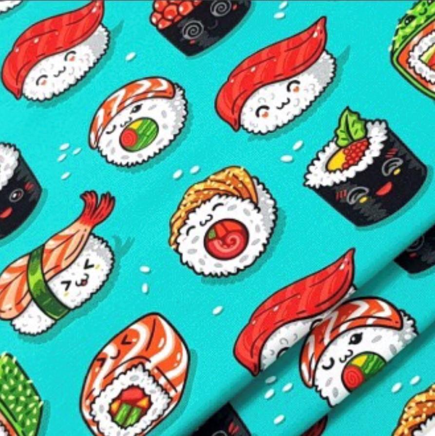 Sushi Print Design on Green Jersey Fabric