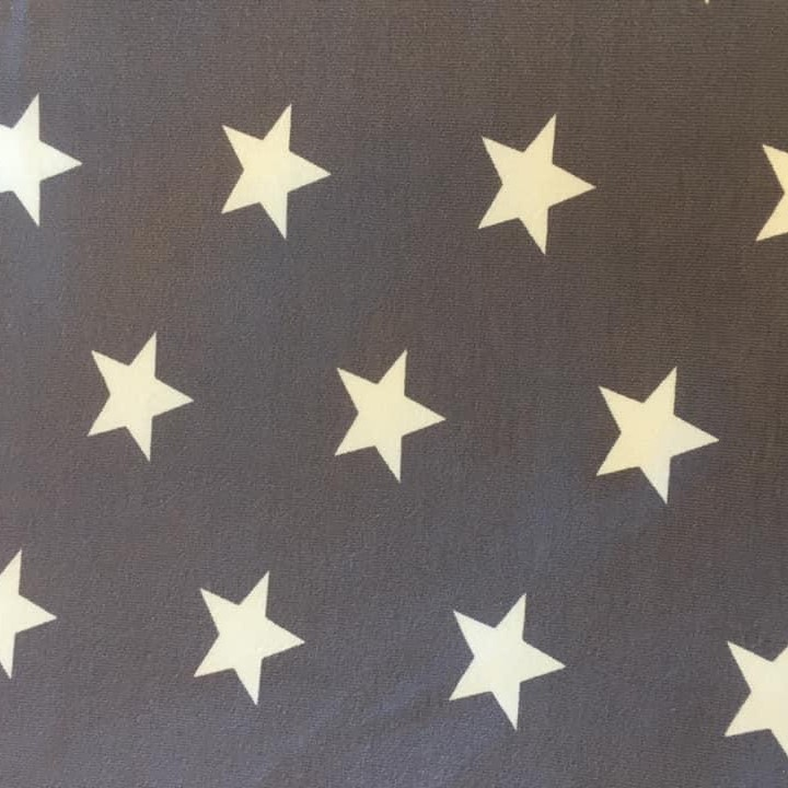 White Stars on Navy Blue Jersey Fabric