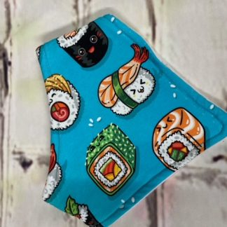 Dribble Bib (Cartoon Sushi on Design on Blue Jersey Fabric)