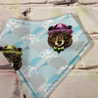 Dribble Bib (Cool Bears with Glasses Design on light Blue Jersey Fabric)