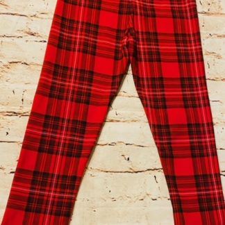 Leggings (Lycra and Jersey) - Red Tartan Design (Various sizes)