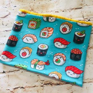 Snood/Neck Warmer - Sushi Design on Green Jersey Fabric with Yellow Inner
