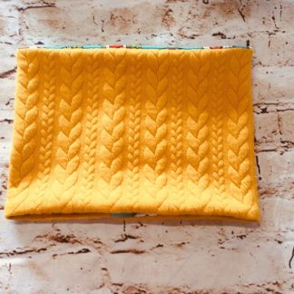Snood/Neck Warmer - Yellow Knit Design on Jersey Fabric