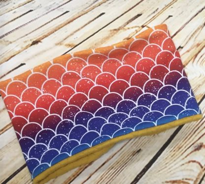 Snood / Neck Warmer with Multi Coloured Fish Scale Design with Yellow Inner on Fluffy Fabric