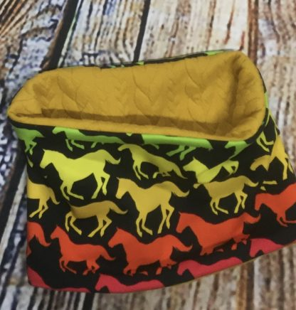 Snood / Neck warmer in Yellow/Red Horse Silhouettes on Black with Yellow Inner Jersey Fabric