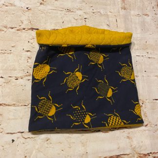 Snood/Neck Warmer - Beetle on Dark Blue Jersey Fabric with Yellow Inner