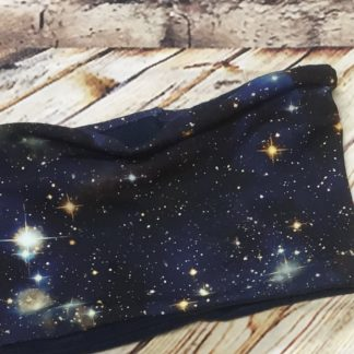 Snood Neck Wamer with Cosmos Design on Dark Blue Jersey Fabric