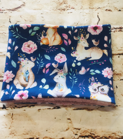 Snood/Neck Warmer - Forest Animals and Roses Design on Dark Blue Jersey Fabric