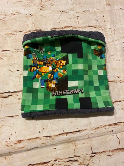 Snood/Neck Warmer - Minecraft Variation on Green Jersey Fabric with Dark Grey Inner