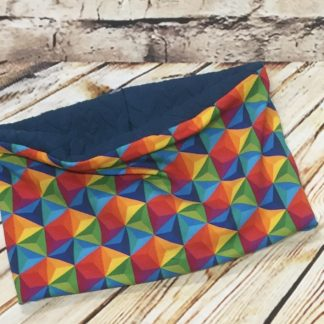 Snood / Neck warmer with Multi Coloured Hexagons with Dark Blue Inner in Jersey Fabric