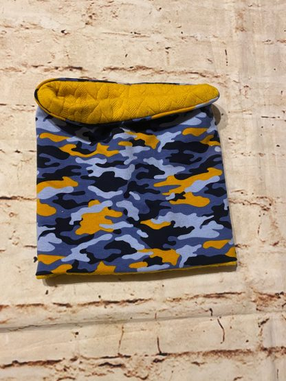 Snood/Neck Warmer - Orange Camouflage Jersey Fabric with Yellow Inner