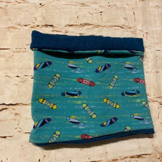 Snood/Neck Warmer - Skateboards on Green Jersey Fabric with Blue Inner