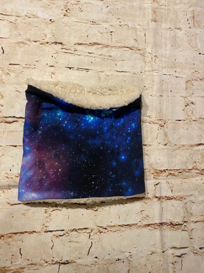 Snood/Neck Warmer - Space & Galaxies on Black Jersey Fabric with Fluffy Inner