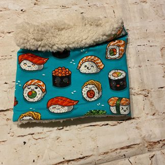 Snood/Neck Warmer - Sushi on Green Jersey Fabric with Fluffy Inner