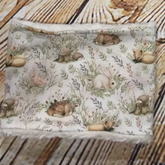 Snood/Neck warmer with forest animals on white fluffy fabric