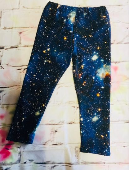 Leggings (Lycra and Jersey) - Cosmos on Dark Blue Design (Various sizes)