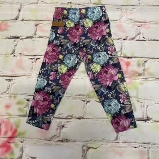 Leggings (Lycra and Jersey) - Purple Flowers in Bloom with Dragonflies & Butterflies Design (Various sizes)