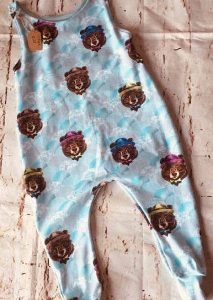 Romper (half lined) Cool Bears with Glasses on light Blue Design (Various Sizes)