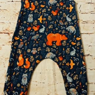 Romper (half lined) Forest Animals on Dark Blue Design (Various Sizes)