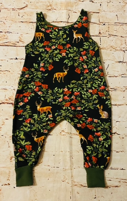 Romper (half lined) Magical Deers with Greenery Design (Various Sizes)