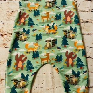 Romper (half lined) Woodland Friends on Green Design (Various Sizes)