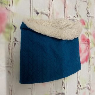 Snood Neck Warmer - Blue Cable Knit Jersey with Cream Fluffy Inside