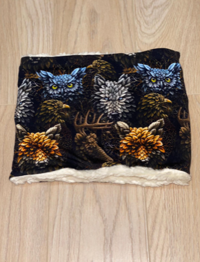 Snood Neck Warmer - Woodland Animals with Cream Fluffy Jersey Inside