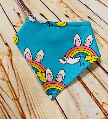 Dribble Bid Rainbow Bunny on Blue