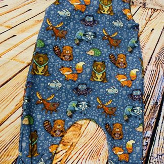 Patterned Forest Animals on Blue