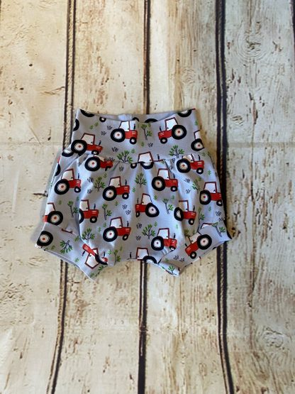 Bubble Shorts in Light Grey Jersey with Red Tractors