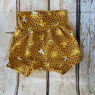 Bubble Shorts with Jungle Animals on Mustard with Black Spots